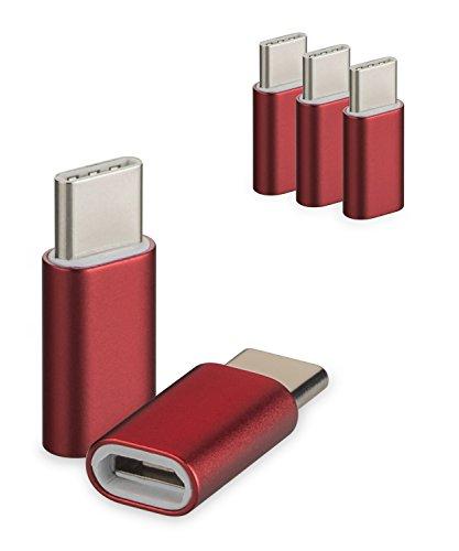 yayago 3er Set USB 3.1 Typ-C auf Micro USB Adapter für Lenovo Vibe C2/ZUK Z1/ZUK Z2/ZUK Z2 Pro/Lenovo Motorola Moto Z/Moto Z Play Typ C Kabel Stecker Rot