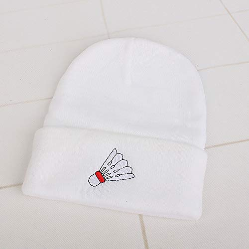 XIAXIACP Europa Und Die Vereinigten Staaten Bestickte Wolle Hüte Winter Männer Und Frauen Paare Jugend Strickt Badminton Basketball Rugby Tennis,White
