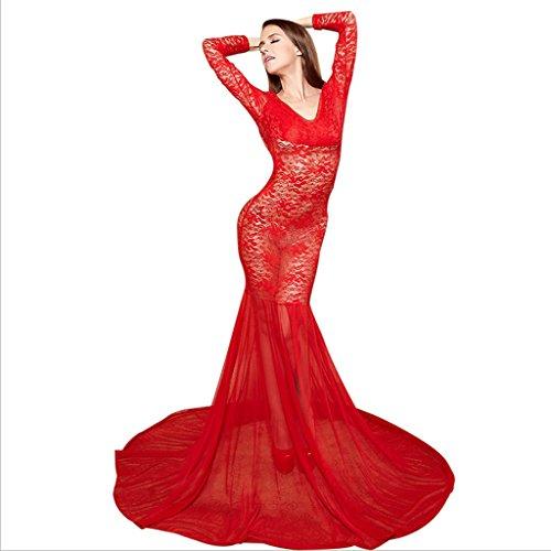 Goney Frau Sexy Dessous Durchschauen Babydoll Backless Plus Size Langarm Spitze Langes Kleid Nachtwäsche Robe Red (größe : L)
