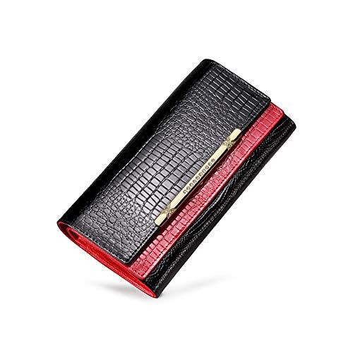 ZGQA-Güteprüfung Krokodil-Leder-Top Layer Rindsleder Weibliche Wallet Lange Double-Layer-Hit Farbe große Kapazitäts-Wallet Passport Wallet Für Männer (Color : Red, Size : 19 * 10 * 4.2CM) -