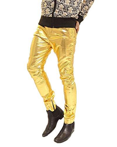 Herren Pu Faux Leder Motorradhose Protektoren Slim Fit Soft Rock Steampunk Motorradhose Biker Hose Lederhose Gold L