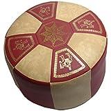 Asiento con forma de cubo puff taburete Tabouret muebles taburete redondo piel sintética burdeos/beige claro Diámetro 50/34 cm