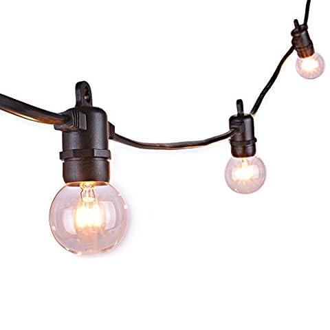 Sunix® Guirlande Guinguette Raccordable avec 25 G40 ampoule Blanc Chaud étanche 7,62m Décoration intérieur et extérieur pour Patio, Café, Jardin, Décoration de