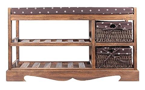 Sitz-Kommode Sitzbank Schubladenschrank Schuhschrank Shabby Vintage mit Sitzkissen K1 (Braun)