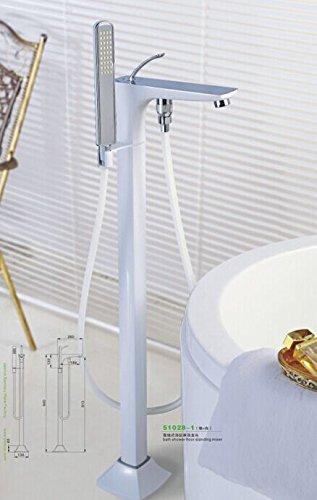 Galvanik Retro Armatur Badewanne Armaturen Moderne weiße Farbe Kupfer Wasser Mischer Bodenständer Hand halten Badezimmer Dusche Sauna Kit LDTZ 009-1, Weiß