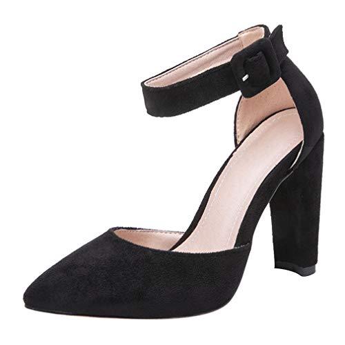 KIKIVA High Heels Pumps mit Blockabsatz Damen Ankle Strap Geschlossene Spitze D'orsay Schuhe (Schwarz, 34)