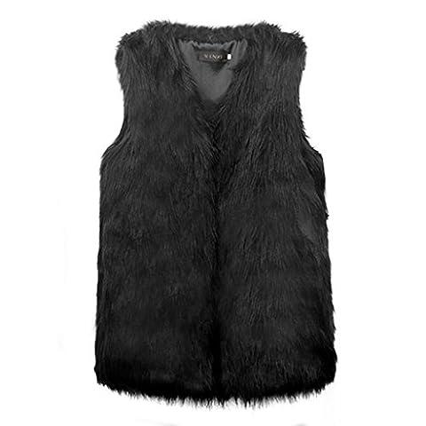 DINGANG® Femmes Gilet vêtement long Slim Vest Faux Fur Gilet Veste