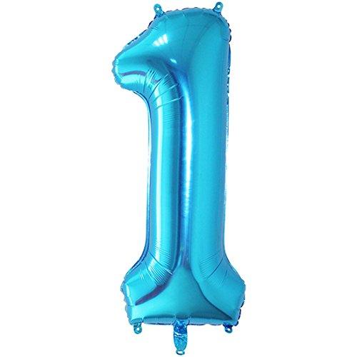 YOGINGO 40 Zoll Aufblasbare Große Anzahl Ballons Digit Folie Geburtstag Hochzeit Party Dekoration Anzahl - Blau 1
