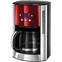 Russel Hobbs Machine à Café, Cafetière Luna 1.5L Inox, 12 Tasses, Programmable, Auto-Nettoyante - Rouge 23240-56