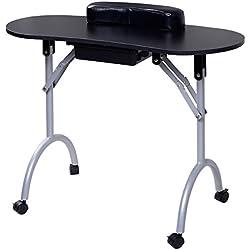 Mesa plegable de uñas Portátil Manicura mesa Escritorio mesa salón de belleza con Cajón (Negro)