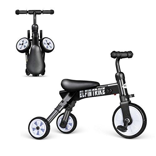besrey 2 in 1 mini Kinderlaufrad Laufrad Lernlaufrad Lauflernrad Kinder Fahrrad Dreirad Kinderdreirad - zusammenklappbar - schwarz