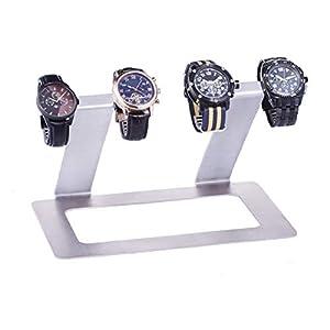 INDULOU Uhrenhalter aus hochwertigem Edelstahl und Leder. 4 – Quattro – Uhrenständer für Vier Uhren. Made IN Germany
