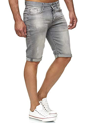 Red Bridge Herren Jeans Shorts Kurze Hose Denim Bermuda Stretch Capri Basic Blau Grau oder Weiß (W34, Grey)
