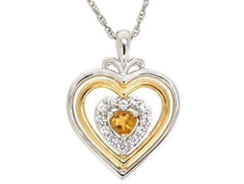 Sterling Silver Hearts and 14k Yellow Gold Plated Citrine and Lab Created White Sapphire with Rope Chain Pendant Necklace,