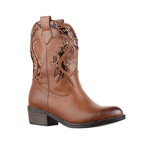 Elara Damen Cowboy Stiefel | Bequeme Lederoptik Stiefeletten | Blockabsatz Zipper | Gefüttert | chunkyrayan 7652-PA Camel-40