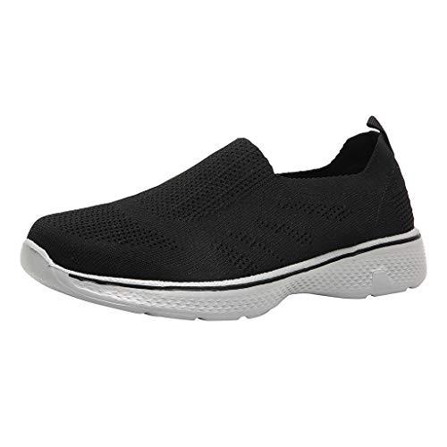 Freizeitschuhe Herren Segeltuchschuhe Lässige Sportschuhe Wild Breathable Deodorant Sneakers Slip-On Peas Schuhe Fliegen Gewebtes Netz Turnschuhe, Schwarz, 41 EU