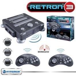Neue Retron 3Video Gaming System für NES SNES & Genesis Anthrazit Grau Zwei Original Controll Anschlüsse