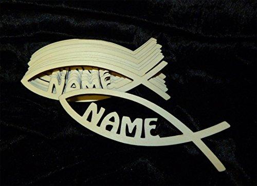 10er Pack Tischdeko Holz Deko Kleinteile Streuartikel zur Kommunion Geburt Konfirmation oder Taufe mit Name für Junge oder Mädchen - zum Geburtstag Motivauswahl Kreuz Fisch Bibel Sternschnuppe (Motiv: Fisch)