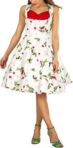 BlackButterfly 'Aura' Classic Joy Kleid im 50er-Jahre-Stil (Weiß Rot, EUR 44 - XL)