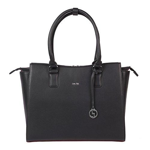 SOCHA Damen Notebooktasche-Laptoptasche 15 6 Zoll schwarz elegante Businesstasche extra leicht robust Designertasche Modell Caddy Nero Smartphone-caddy