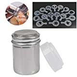 OFNMY Chocolate Shaker for Coffee with Sealed Lid, Stainless Steel Mesh Shaker for Icing Sugar Powder Cocoa with 16 Shapes Stencils/Printing Molds for DIY Cappuccino Coffee