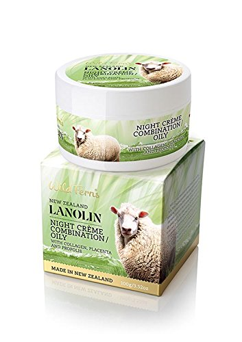 Wild Ferns Lanolin Night Creme (Combination to Oily Skin) with Collagen, Placenta and Propolis 100g