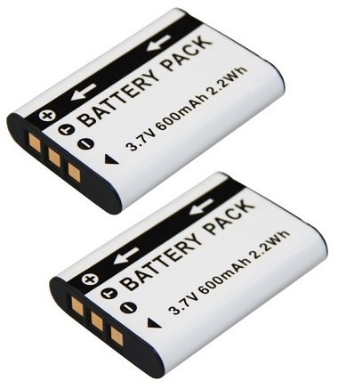 2 Ersatzakkus für die Sony HDR-AZ1 Action Cam --- 2x Akku für Sony NP-BY1 inkl. PATONA Displaypad
