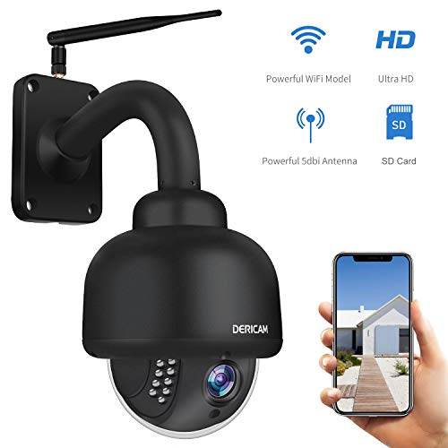 Dericam PTZ Kamera für den Außenbereich, 1080P WiFi-Sicherheits-IP-Kamera, 4fach optisches Zoom, Nachtsicht, Autofokus mit vorinstallierter 32G Micro SD-Karte, Schwarz