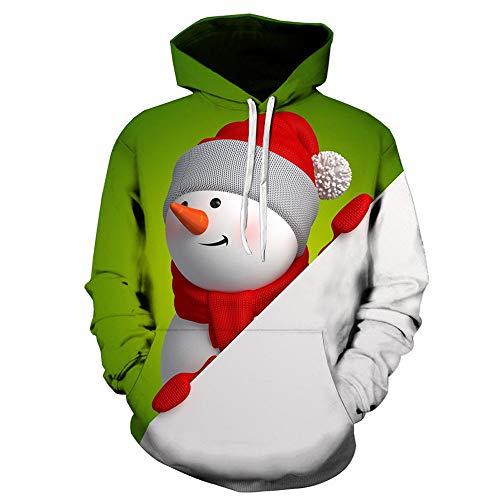 Aoogo Herren es Kapuzenpullover Paar Frühling Cartoon Santa Printed Hooded Langarm-Pullover Unisex Mode Pullover Hoodie Sweatshirt Athletisch Lässig mit Taschen Größe