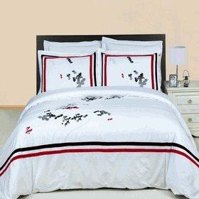 Royal Hotel 's gestreift Bronze 600-thread-count 4Full Bed Sheet Set und 3duvet-cover-sets 100Prozent Baumwolle, Satin gestreift, deep Pocket (Voll Satin Tröster)