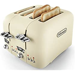 (Beige) - De'Longhi CTO4.BG Argento Flora 4-Slice Toaster 1800W (Beige)