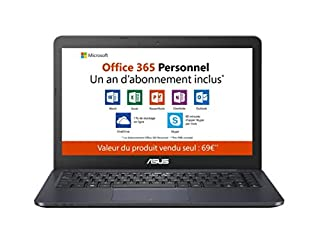 "Asus Vivobook E402YA-FA094TS PC portable 14"" FHD bleu (AMD E2, RAM 4Go, EMMC 64Go, Windows 10 S) Office 365 inclus - Clavier AZERTY Français (B07QCS6P12) 