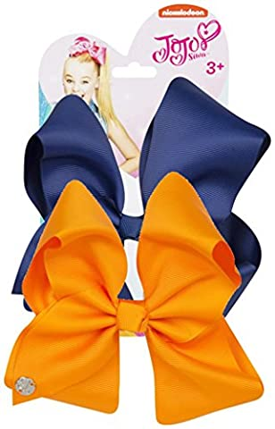 JoJo Bows Signature Collection Large Bows Set of 2 Navy/Tangerine