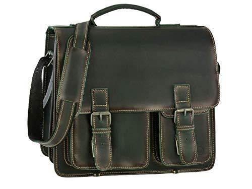 Greenburry Aktentasche Damen Herren Buffalo XL grün Aktenmappe 2 Fächer mit Lederpflegeset -