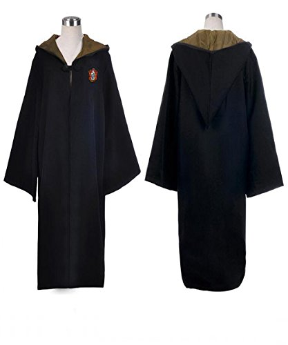 Great Adult Harry Potter Gryffindor Slytherin Ravenclaw Hufflepuff Fancy Robe Cloak Costume And Tie (M, Hufflepuff ()