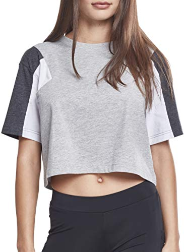 Urban Classics Damen T-Shirt Ladies 3-Tone Short Oversize Tee Mehrfarbig (Gry/Cha/Wht 01486) Medium