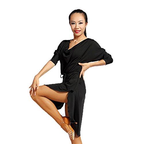 SCGGINTTANZ G1007 Latein Moderner Tanz Professionell Der vorspann Edge Design Swing Kleider(enthält einen einfachen Gürtel) (Free-Size, (FBA) Black)