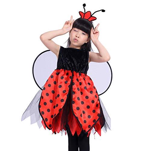 Amosfun 2 stücke Mädchen Marienkäfer Kostüm mit Stirnband und Flügel Set für Kinder Verkleidung Party (Größe (2 Stück Marienkäfer Kostüm)