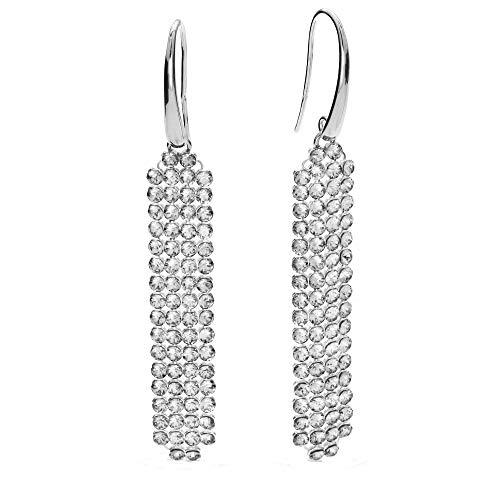 Spark Swarovski Elements Damen Ohrringe leicht, lang hängend, 925 Sterling Silber beweglich mit 64 Swarovski Kristallen weiß je Ohrring