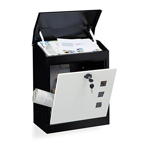 Relaxdays Briefkasten groß, Stahl, Sicherheits-Klappe, Schloss, HxBxT: 53 x 43,5 x 26 cm, Wandbriefkasten, Schwarz-Weiß