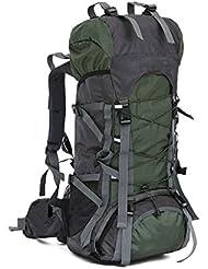 lokep Unisex 60L grande resistente al agua senderismo mochila al aire libre bolsa de deporte bolsa de viaje mochila montañismo marco interno mochila senderismo mochila para viajar senderismo Camping Escalada, color Army green, tamaño mediano, volumen liters 60.0
