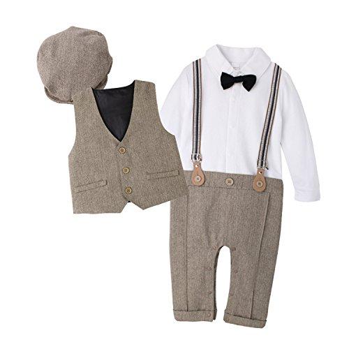 DecStore Baby Junge Gentleman Bodysuit Krawatte Romper Kleidung Suit mit Hut braun 90