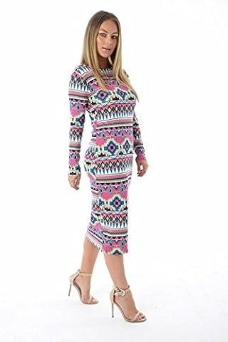 Comfiestyle - Robe - Robe midi - Manches Longues - Femme - multicolore - 52