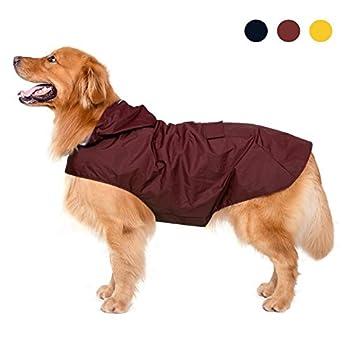 Imperméable pour chien avec capuchon et col et bandes réfléchissantes sécuritaires, imperméable respirante 100% imperméable par Zellar pour chien de grande taille