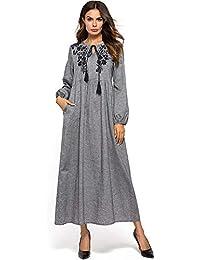 Vestidos de noche Vestido de mujer Bata Más Tamaño Bordado Floral Fiesta de noche Vestido de