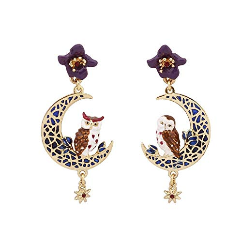BEIXI Europäische und amerikanische Glasur Blumen Eulen-Ohrringe Vergolden Hohle-Mond-Sterne-Ohrringe Ohrringe weibliche Ohrringe