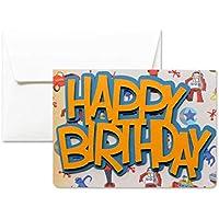 Joyeux anniversaire - Vintage - carte de voeux avec enveloppe (10,5 x 15 cm) - carte faite à la main - blanc à l'intérieur