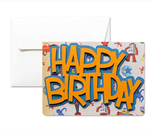 Happy Birthday - Jahrgang - Vintage - Grußkarte mit Umschlag (10,5 x 15 cm) - handgemachte Karte - freier Raum nach innen -