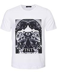 Hombre 3d de Gran Tama?o Casual Camiseta Verano Moda Tendencia Impresión Patrón Chaqueta de Manga Corta Serie de Ciencia Ficción,Blanco,METRO