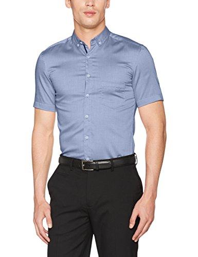 Eterna Slim Fit Kurzarm blau/braun uni mit Mini Button-Down-Kragen (Mini-non Iron-hemd)
